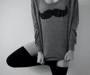 girl, cute, and moustache image
