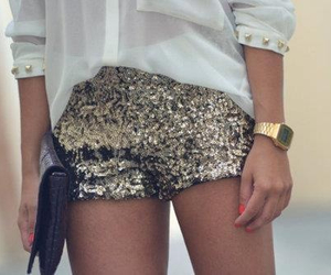 fashion, gold, and short image
