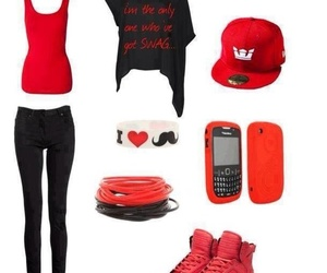 red, swag, and black image