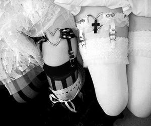 black and white, lolita, and dress image