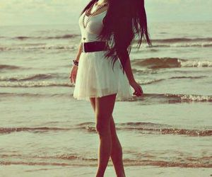 girl, dress, and beach image