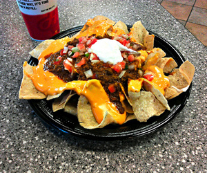 cheese, food porn, and nachos image
