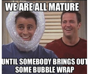 friends, funny, and bubble wrap image