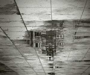 b&w, house, and reflection image