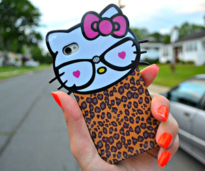 hello kitty, iphone, and nails image