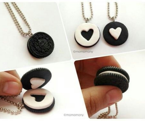 oreo, necklace, and heart image