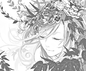 anime, black and white, and flowers image