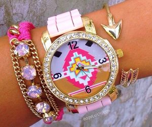 accessories, pink, and watch image