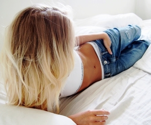 bed, white, and girl image