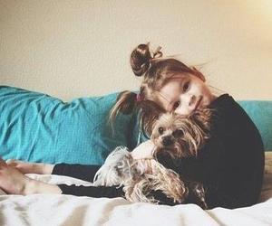 baby, dog, and girl image