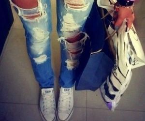 all star, girl, and ripped jeans image