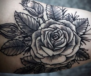 ink, inked, and rose image