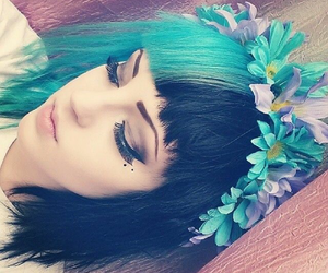 black, blue, and flowers image