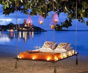 beach, bed, and romantic image