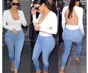 kim kardashian, jeans, and outfit image