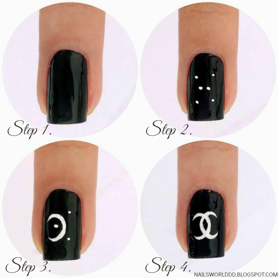 NAILS WORLD: COCO CHANEL NAIL ART TUTORIAL on We Heart It