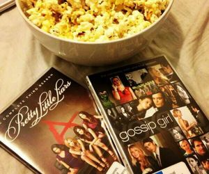 pretty little liars, gossip girl, and popcorn image