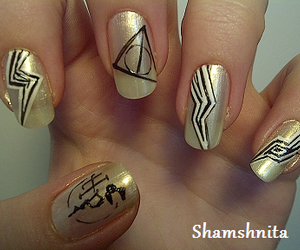 deathly hallows, harry potter, and nails image