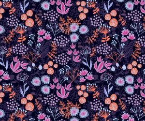 pattern, flowers, and orange image