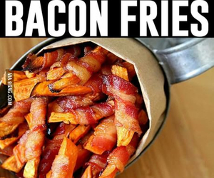 bacon, food, and fries image