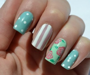 dots, nail, and flowers image