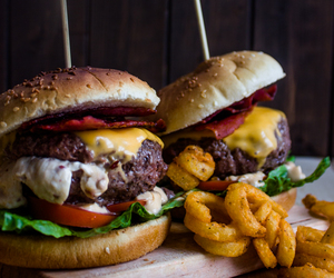 bacon, burger, and meat image