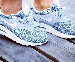 blue, nike, and shoes image
