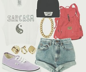 outfit, vans, and sarcasm image