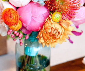 blue, flowers, and colorful image