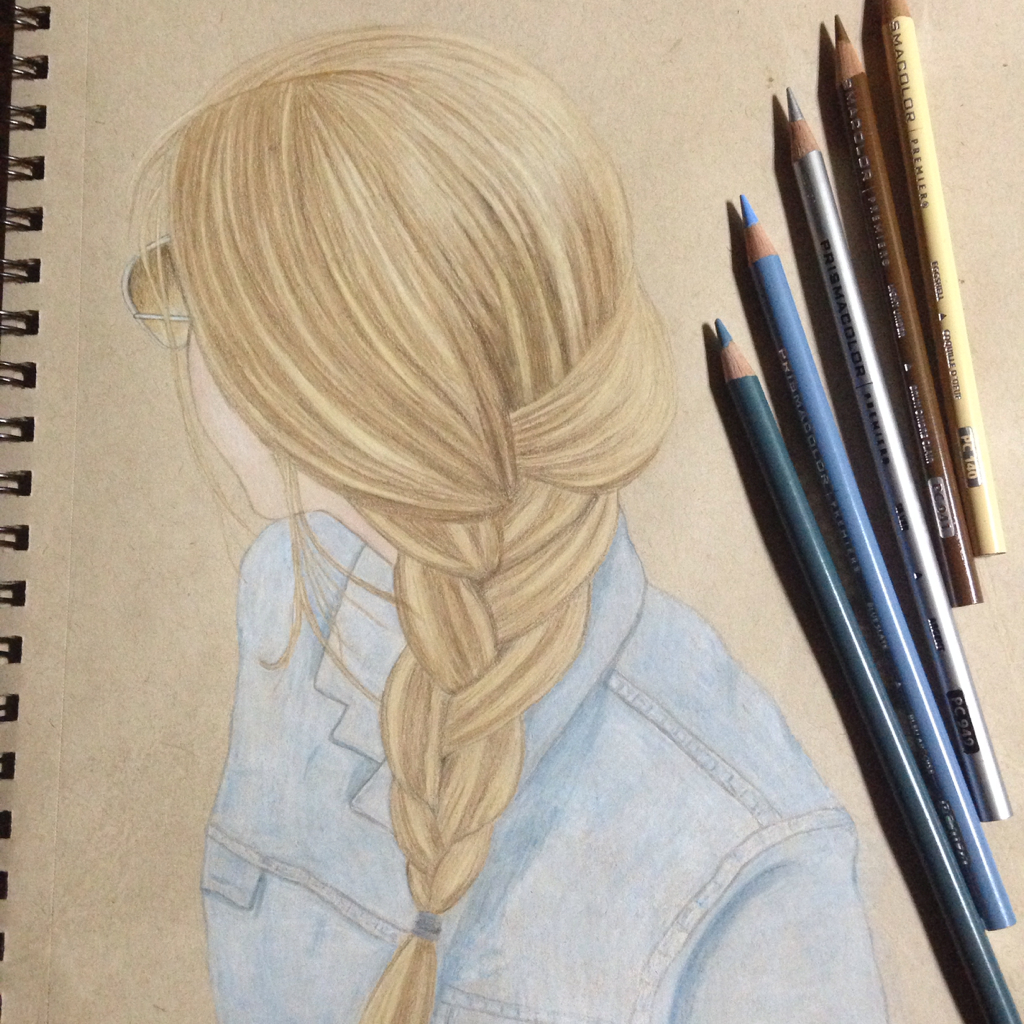 A simple French braid , my drawing. on We Heart It