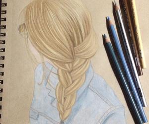 art, braid, and drawing image