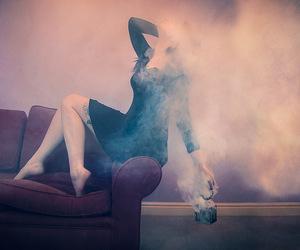 alone, sofa, and female image