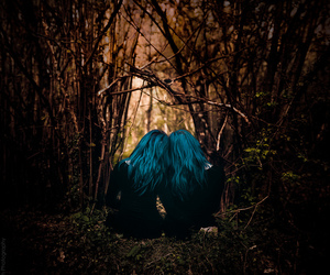 alone, blue hair, and girl image