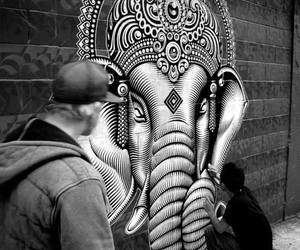 art, graffiti, and elephant image