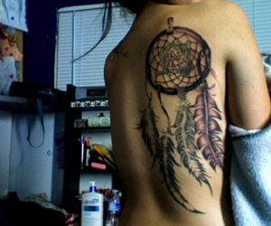 back tattoo, feathers, and dreamcatcher image