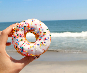 donuts, beach, and summer image
