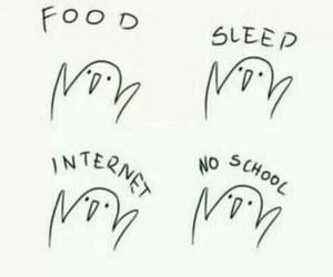 food, sleep, and internet image
