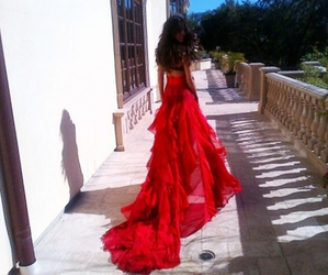 dress, red, and hair image