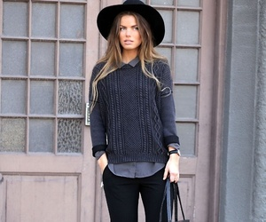 style, sweater, and hat image