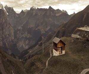 house, mountains, and travel image