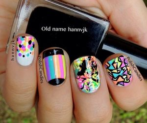 colorful, nails, and black image
