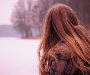 beautiful, red hair, and winter image