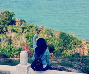 hijab, blue, and girl image