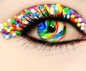 candy, eye, and rainbow image