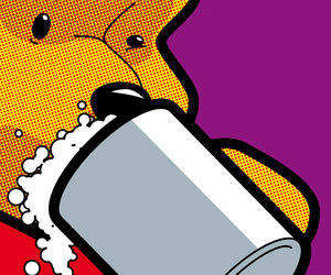 pop art, beer, and winnie the pooh image