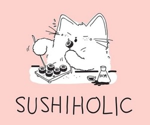 sushi, cat, and food image