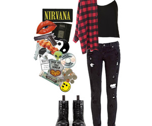 dr martens, fashion, and flannel shirt image