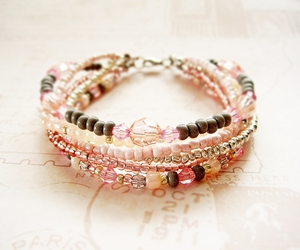 beads, bracelet, and delicate image