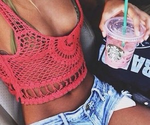 summer, girl, and starbucks image
