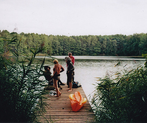 friends, nature, and lake image